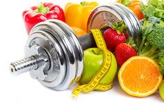 sport-diet-chrome-dumbbells-surrounded-healthy-fruits-vegetables-white-background-55629974